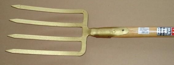 IDEAL Spatengabel gold lackiert mit Stiel